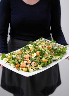 Hot smoked salmon, double cress and potato salad platter: This colourful platter featuring flakes of smoked salmon, quails eggs and topped with a honey mustard dressing will serve a crowd of 8