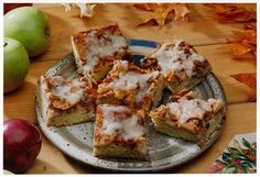 Apple Kuchen.  Warm butter sauce served over coffeecake lends the right touch to this apple-topped kuchen. Melted butter blended into the topping enhances the keeping quality of the sliced apples.
