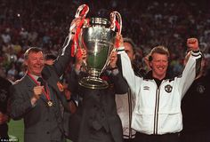 Flying the flag: Ferguson flew on the Concorde as Manchester United snatched glory over Bayern Munich in the 1999 Champions League final in Barcelona