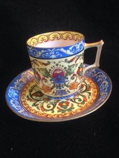 1800S Dresden Florentine Demitasse Tea Cup And Saucer