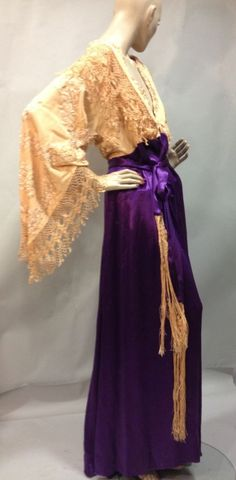 1910 Tea gown - bell sleeve cream lace top with purple satin skirt