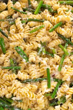 Lemon Mascarpone Pasta with Sauteed Asparagus. #vegetarian #pasta #recipe | Little Spice Jar