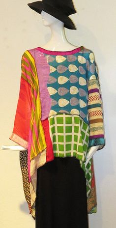 Love the colors and patterns of this Sterling - Art Silk Whisper Top – Artemisia Artwear Textiles, Half Sleeve Dresses, Dresses With Sleeves, Mode Plus, Sewing Clothes, Fashion Prints, Fashion Fashion, Refashion, Dressmaking