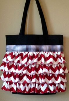 Alabama Ruffled Tote Gameday Bag Chevron Houndstooth on Etsy, $35.00