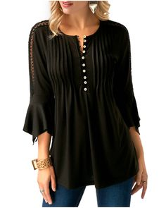 fe6a2544bf088 Softcloudy Women  s Casual Henley V Neck Pleated Bell Sleeve Shirt Tunic Top  Chic Design