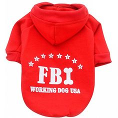 Moolecole Cold Clothes for Dogs Hoodie Pet Sweater Costume Cotton and Fleece in FBI Pattern Design XL Red -- Read more  at the image link.