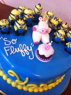 I love that this cake has both the minions and the fluffy unicorn