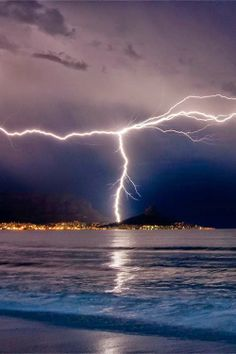 Lightning Over Cape Town, South Africa • (by Warren Tyrer)