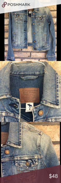A&F Jean Jacket - NEW LISTING This is fabulous. It is a Rugged yet stylish Jean Jacket. Has the raw edges and distressed appeal. Faded in all the right places. Bronze Button closure. Side and breast pockets. Tons of detailing. It was worn one time...is in STORE BOUGHT condition. Abercrombie & Fitch Jackets & Coats Jean Jackets