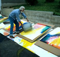 Paul Jenkins (1923-2012), Intrigued by his technique of pouring paint, manipulating the fluid, lush colors to achieve his flowing works of art...Beautiful!