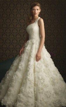 想象,1  - 婚纱礼服高腰公主自然单肩长裙