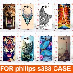 high quality diy Colored painted flowers tiger animals eiffel tower Design hard Cell Phones Hard Case For Philips S388 cover