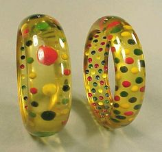 Two Bakelite Reverse Carved and Painted Dot Bracelets