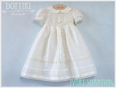 Baptism Silk Dress,  Girls Baptism Silk Gown, Christening Dress in Ivory or Cream , Baby Girl Christening Dress, Baptism Outfit by DOTTIKI on Etsy