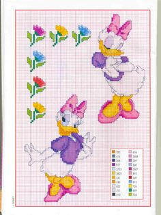 Daisy duck cross-stitch (I have done embroidery in a year, I'm getting in the mood again. And of course Daisy is my fave of the classic Mickey friends characters, would love to find her<3)