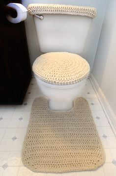 Crochet Pattern: Toilet Cover Set, Contour Rug and additional Toilet Tank Cover Pattern to complete the set