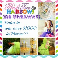 Pink Toes and Hair Bows 20k giveaway! Enter to win over $1000 in prizes!