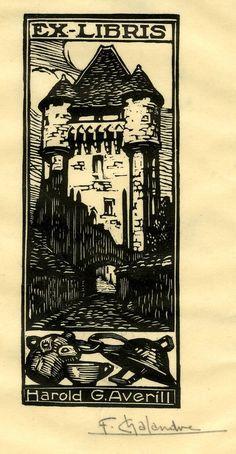 Ex libris Harold G. Averill by Fernand Chalandre; 1919