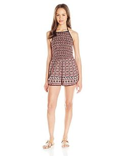 8f6c0e801ba9 Angie Womens Smocked Bust Romper Red Medium   Learn more by visiting the  image link.