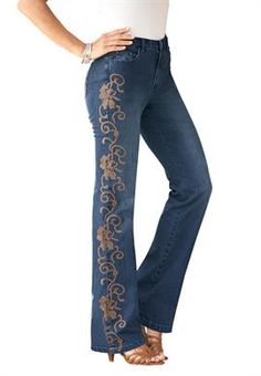 Embroidered Jeans by denim 24/7 | Plus Size Bootcut Jeans | OneStopPlus