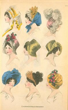 London Head Dresses, June 1805, Fashions of London & Paris