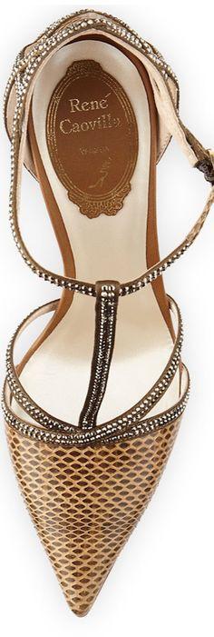 Rene Caovilla Strass Crystal Python T-Strap Sandal