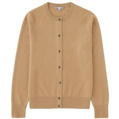 100% Cashmere Crew Neck Cardigan (4 Colours) (£80) ❤ liked on Polyvore featuring tops, cardigans, cashmere cardigans, crew neck top, uniqlo tops, beige top and crewneck cardigan