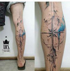 No photo description available. Cyborg Tattoo, Dna Tattoo, Map Tattoos, Calf Tattoo, Body Art Tattoos, Tatoos, Compass Rose Tattoo, Compass Tattoo Design, Badass Tattoos