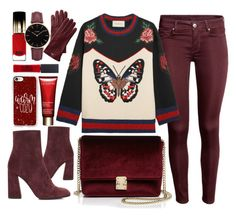 """""""Butterfly"""" by monmondefou ❤ liked on Polyvore featuring Stuart Weitzman, L'Oréal Paris, Gucci, KC Jagger, Casetify, Maybelline, Clarins, CLUSE, Mark & Graham and red"""