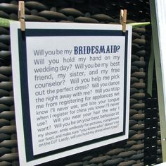 Great idea! When we asked our wedding party to be a part of our day we used the message in a bottle idea and personalized each letter to let them know that they shared our lives with us and we wanted them to share in the next step in our loves