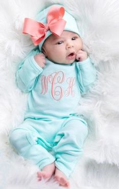 Hospital Outfit Name Announcement Newborn Baby Girl Coming Home Hi Im New Here Personalized Peach Navy Floral Going Home Set