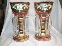 ANTIQUE CRANBERRY GLASS MANTLE CANDLE LUSTERS BOHEMIAN MOSER SPEAR PRISMS