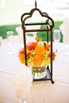 lantern floral centerpiece