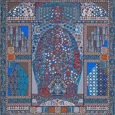 2014 F/W | Tapis Persans《ペルシャ絨毯》| カレ・ジェアン ツイル・プリュム | シルク 100% | カラー:ブルー/ブリック/エトゥープ Bleu/Brique/Etoupe | サイズ:140×140cm | デザイナー: Pierre-Marie | 商品番号 : H432883S 02 | ¥110,160