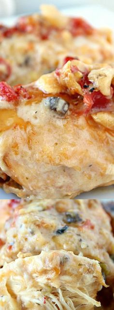 This Crock Pot Cheesy Chicken from Great Grub, Delicious Treats is one of the easiest dinner recipes. Each bite is loaded with cheese, super flavorful, and extra creamy!