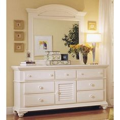 Pleasant Isle Door Dresser with Landscape Mirror in White - $964.98