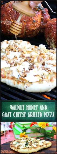 Walnut, Goat Cheese, and Honey Pizza on the Grill... I MADE THIS ON A GRILL for an Appetizer... Sweet from the honey, Savory from the Walnuts, wonderfully flavored from the Goat Cheese, top with a little drizzle of Olive Oil and Basil and your guests know they are going to get something special! And Grilling a pizza ... easy easy easy and the crowd LOVES it!!!