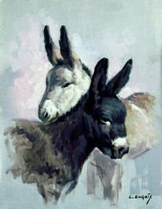 Artwork of Donkeys!  Sooo Cute!  (: