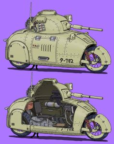 Anime Military, Military Guns, Military Vehicles, Futuristic Motorcycle, Futuristic Cars, Tank Drawing, Character Art, Character Design, The Cat Returns