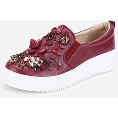 SheIn(sheinside) Flower Decorated Low Top Sneakers (67 BAM) via Polyvore featuring shoes, sneakers, round toe sneakers, decorating shoes, blossom footwear, embellished shoes i jeweled sneakers