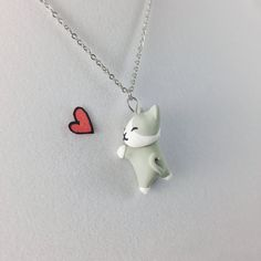 Kawaii Cat Necklace // Polymer Clay Jewelry // Cat Lover Gift by CrownedClay on Etsy