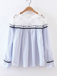 Lace Paneled Vertical Striped Blouse