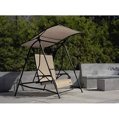 Cloud 9 Outdoor Reclining Lounge Swing with Canopy Porch Swing With Canopy, Canopy Outdoor, Outdoor Decor, Lawn Swing, Porch Trim, Patio Furniture Sets, Metal Furniture, House With Porch, Swinging Chair