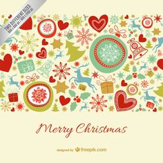 Merry Christmas card with colorful ornaments Free Vector. More Free Vector Graphics, www.123freevectors.com