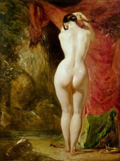 Diana standing by a waterfall by William Etty
