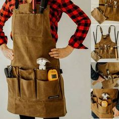 Angry Beaver - Waxed Canvas Work Shop Apron with Bonus Zipper Tool Pouch