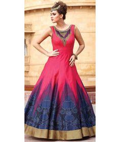 Outstanding Pink Silk Designer Gown.
