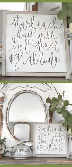 Such a great, uplifting message! Start Each Day with God, grace, and gratitude, Bedroom sign, Bathroom decor, inspirational wall decor, farmhouse sign, farmhouse decor, rustic decor, rustic sign, gift idea #ad