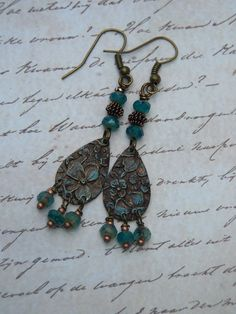 Patina Vintaj Drop Earrings by JustImagineJewelry on Etsy, $12.00