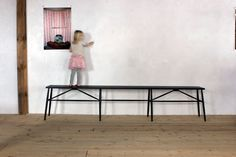Sawkille Standard: x x Oxidized Cherry, Bleached counter bench: h ( as seen long) Ottoman Bench, Dining Bench, Dining Tables, Entry Hallway, Foyer, Entryway, Mirror Art, Mirrors, Small Space Solutions